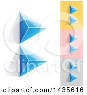 Blue Abstract 3d Pyramids Forming Letter B Designs