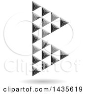 Clipart Of A Floating Abstract Capital Letter B Made Of Pyramids With A Shadow Royalty Free Vector Illustration