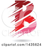 Floating Abstract Capital Letter B With Stripes And A Shadow