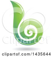 Floating Abstract Swirl Lowercase Letter B With A Shadow