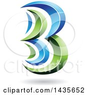 Clipart Of A Floating Abstract Capital Letter B With A Shadow Royalty Free Vector Illustration