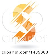 Clipart Of A Gradient Yellow And Orange Letter S Design With Speed Or Slash Marks And A Shadow Royalty Free Vector Illustration by cidepix