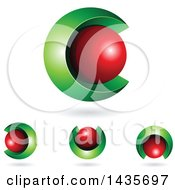 3d Abstract Sphere Letter C Designs With Shadows