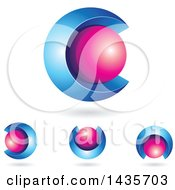 Clipart Of 3d Abstract Sphere Letter C Designs With Shadows Royalty Free Vector Illustration