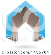 3d Floating Abstract Blue And Gray House Or Gate Design With A Shadow
