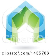 Clipart Of A 3d Floating Abstract Blue And Green House Or Gate Design With A Shadow Royalty Free Vector Illustration