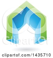 3d Floating Abstract Green And Blue House Or Gate Design With A Shadow