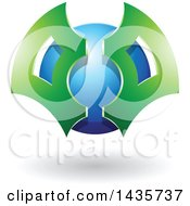 Clipart Of A Green And Blue Futuristic Abstract Shielded Sphere Design With A Shadow Royalty Free Vector Illustration