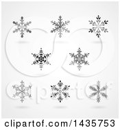 Clipart Of Black Snowflakes With Shadows Royalty Free Vector Illustration by cidepix