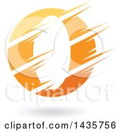 Clipart Of A Gradient Yellow And Orange Letter O Or Number Zero Design With Speed Or Slash Marks And A Shadow Royalty Free Vector Illustration