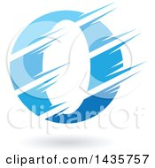 Gradient Blue Letter O Or Number Zero Design With Speed Or Slash Marks And A Shadow