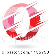 Clipart Of A Gradient Pink And Red Letter O Or Number Zero Design With Speed Or Slash Marks And A Shadow Royalty Free Vector Illustration
