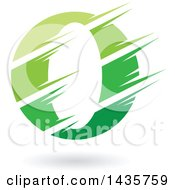Green Letter O Or Number Zero Design With Speed Or Slash Marks And A Shadow