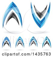 Abstract Black And Blue Letter A And V Icon Designs With Shadows