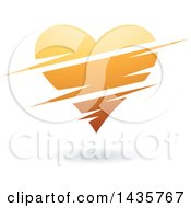 Clipart Of A Floating Orange Heart With Slits Royalty Free Vector Illustration by cidepix