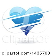 Clipart Of A Floating Blue Heart With Slits Royalty Free Vector Illustration by cidepix