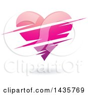 Clipart Of A Floating Pink Heart With Slits Royalty Free Vector Illustration