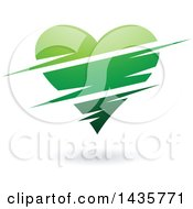 Clipart Of A Floating Green Heart With Slits Royalty Free Vector Illustration by cidepix