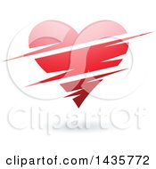 Clipart Of A Floating Red Heart With Slits Royalty Free Vector Illustration by cidepix