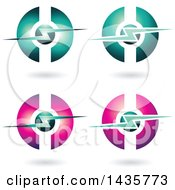 Clipart Of Horizontal Electric Lighting Bolt And Sphere Icons With Shadows Royalty Free Vector Illustration