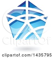 Clipart Of A Floating Pentagon With Stripes And A Shadow Royalty Free Vector Illustration by cidepix