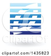 Floating Abstract Square And Leaf With Horizontal Lines And A Shadow