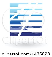 Clipart Of A Floating Abstract Square With Horizontal Lines And A Shadow Royalty Free Vector Illustration by cidepix