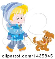 Cartoon Blond White Boy Wearing A Winter Coat And Walking A Puppy Dog