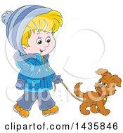 Cartoon Blond Caucasian Boy Wearing A Winter Coat And Walking A Puppy Dog
