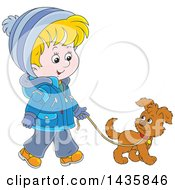 Cartoon Blond Caucasian Boy Wearing A Winter Coat And Walking A Puppy Dog
