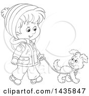 Cartoon Black And White Lineart Boy Wearing A Winter Coat And Walking A Puppy Dog