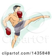 Sketched Male Fighter Doing A Muay Thai Kick