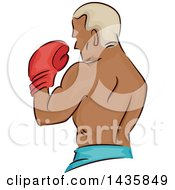 Clipart Of A Rear Side View Of A Black Male Boxer Holding Up A Glove Royalty Free Vector Illustration by BNP Design Studio