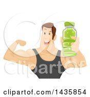 Clipart Of A Brunette Caucasian Man Wearing A Tank Top Holding An Energy Drink And Flexing His Biceps Royalty Free Vector Illustration by BNP Design Studio