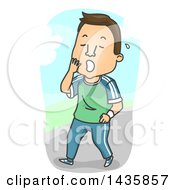 Clipart Of A Cartoon Brunette White Man Yawning After An Exhausting Workout Royalty Free Vector Illustration