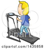 Clipart Of A Cartoon Blond Caucasian Man Exercising On A Treadmill Royalty Free Vector Illustration