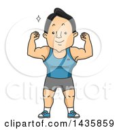 Clipart Of A Cartoon Strong Man Flexing His Muscles Royalty Free Vector Illustration by BNP Design Studio