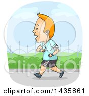 Cartoon Red Haired Caucasian Man Listening To Music And Running
