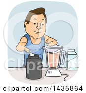 Clipart Of A Cartoon Brunette Caucasian Man Making A Post Or Pre Workout Whey Protein Smoothie Royalty Free Vector Illustration