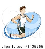 Clipart Of A Fit Brunette Caucasian Man Running In A Blue Oval Royalty Free Vector Illustration
