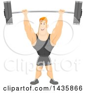 Clipart Of A Strong Muscular Red Haired Caucasian Man Lifting A Barbell Over His Head Royalty Free Vector Illustration
