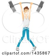 Clipart Of A Skinny Brunette Caucasian Man Struggling And Lifting A Barbell Over His Head Royalty Free Vector Illustration