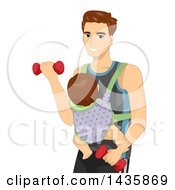 Brunette Caucasian Father Wearing A Baby On His Chest And Working Out With Dumbbells
