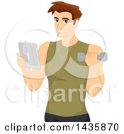 Clipart Of A Brunette Caucasian Man Wearing Ear Buds Holding A Tablet And Working Out With A Dumbbell Royalty Free Vector Illustration