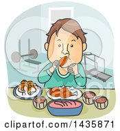 Clipart Of A Cartoon Brunette White Man Pigging Out On Food After A Workout Royalty Free Vector Illustration
