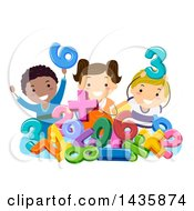 Clipart Of A Group Of School Children With Numbers And Math Symbols Royalty Free Vector Illustration
