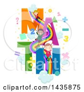 Clipart Of School Children On A Math Rainbow Slide Royalty Free Vector Illustration