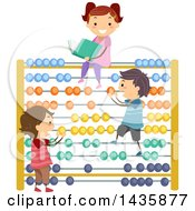 Clipart Of School Children Playing On An Abacus Royalty Free Vector Illustration by BNP Design Studio