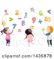 Clipart Of School Children Playing With Numbers Royalty Free Vector Illustration