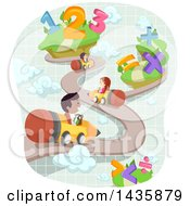 Clipart Of School Children Driving Pencils On A Road With Numbers And Math Symbols Royalty Free Vector Illustration